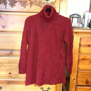 MANGO Burgundy turtle neck sweater dress M-L
